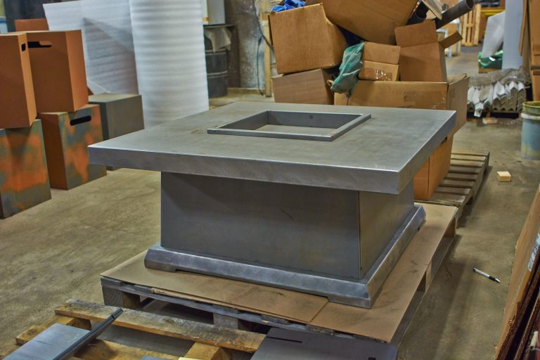 Gas fireplace for gallery of Jensen Metal Products is a custom sheet metal fabrication manufacturer in Racine Wisconsin